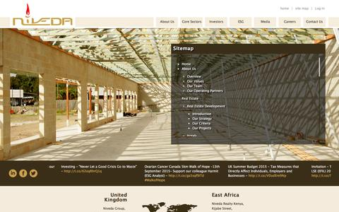 Screenshot of Site Map Page niveda.com - Niveda - Site Map - captured Feb. 15, 2016