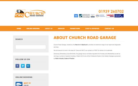 Screenshot of About Page churchroadgarage.com - Church Road Garage - Car Repairs, MOT Testing, Servicing in Baschurch, Shrewsbury - About Us - captured Sept. 29, 2014