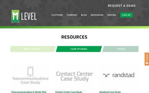 Screenshot of Case Studies Page mlevel.com - Case Studies » mLevel - captured Oct. 19, 2018
