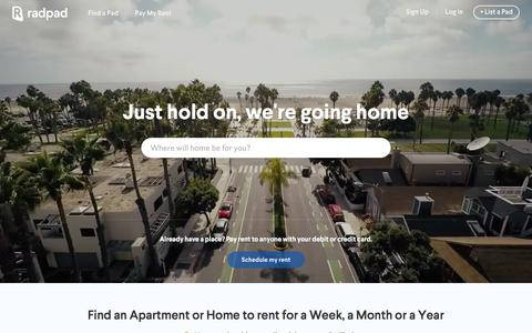 Screenshot of Home Page onradpad.com - RadPad: Find Apartments, Houses & Rooms for Rent - captured Feb. 2, 2016