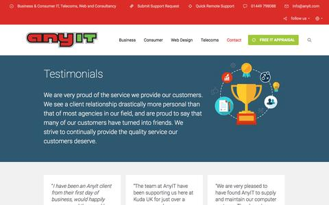 Screenshot of Testimonials Page anyit.com - Testimonials - AnyIT - captured May 30, 2017
