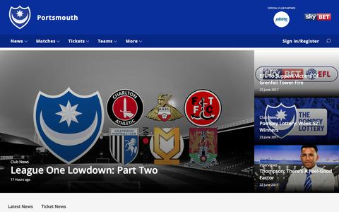 Screenshot of Home Page portsmouthfc.co.uk - Portsmouth - captured June 26, 2017