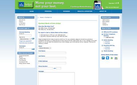 Screenshot of Contact Page boaa.com - Contact Us | Bank of Ann Arbor - captured Nov. 3, 2014
