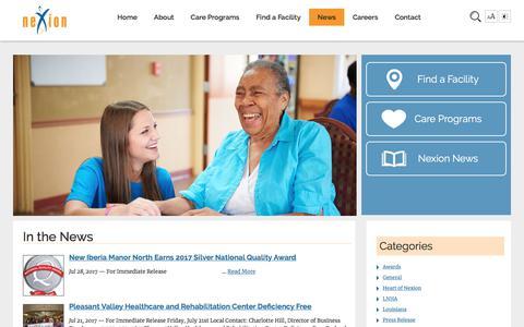 Screenshot of Press Page nexion-health.com - News, eventsNexion Health - captured Nov. 7, 2017