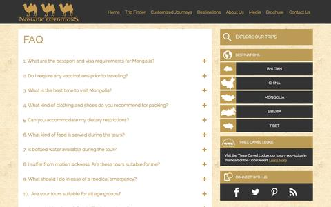 Screenshot of FAQ Page nomadicexpeditions.com - Frequently Asked Questions   FAQ   Nomadic Expeditions - captured Oct. 9, 2014