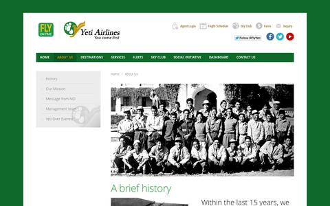 Screenshot of About Page yetiairlines.com - About Us | Nepal's Premier Airline | Yeti Airlines – You come first - captured Sept. 23, 2014