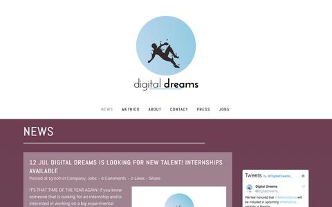 Screenshot of Press Page digitaldreamsgames.com - Digital Dreams |   News - captured Oct. 12, 2017