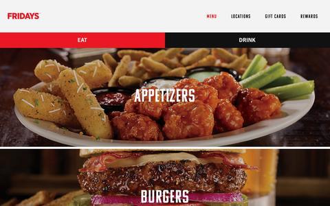 Screenshot of Menu Page tgifridays.com - Our Menu | Fridays - captured April 9, 2016