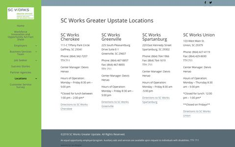 Screenshot of Locations Page scworksupstate.com - Our Locations - SC Works Greater Upstate - captured July 25, 2018