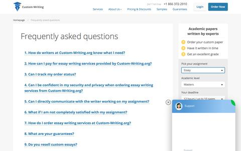 Screenshot of FAQ Page custom-writing.org - Get Answers to Your Questions About Custom Essay Writing - captured July 4, 2019