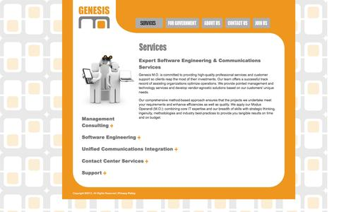 Screenshot of Services Page genesismo.com - Genesis M.O. | Services for Technology, Communications & Contact Center - captured Dec. 8, 2015