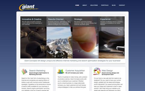 Screenshot of Home Page giantconcepts.com - Giant Concepts - Internet Strategy Consulting Firm - captured Oct. 2, 2014