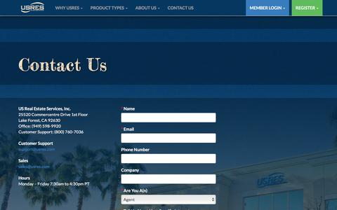 Screenshot of Contact Page usres.com - USRES | US Real Estate Services - captured Jan. 10, 2016