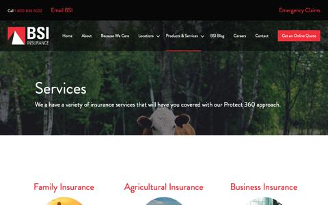Screenshot of Services Page bsimb.com - Services | BSI Insurance - captured Oct. 5, 2018