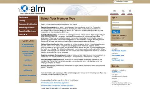 Screenshot of Signup Page site-ym.com - Association for Linen Management - captured Sept. 18, 2014