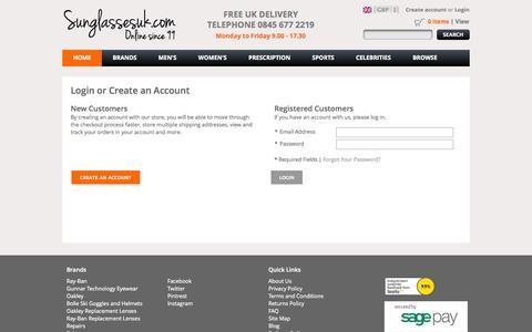 Screenshot of Login Page sunglassesuk.com - Customer Login - captured Sept. 24, 2014