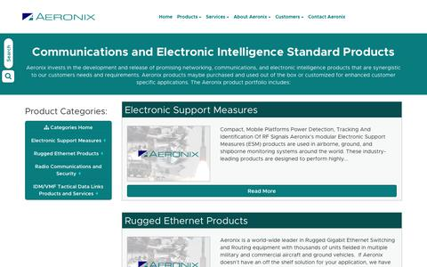 Screenshot of Products Page aeronix.com - Communications and Electronic Intelligence Standard Products - captured July 29, 2018