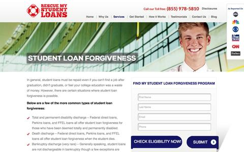 Screenshot of Services Page rescuemystudentloans.com - Repay Student Loan   Student Loan Forgiveness - captured Oct. 7, 2014