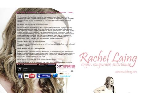 Screenshot of Testimonials Page rachellaing.com - Rachel Laing - Singer/Songwriter/Entertainer - Available for weddings, parties, functions & more... - captured Oct. 27, 2014