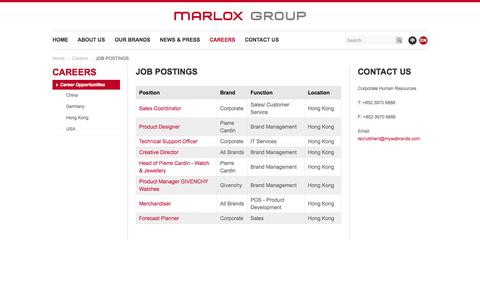 Screenshot of Jobs Page mywabrands.com - JOB POSTINGS | Marlox Group - captured Nov. 3, 2014