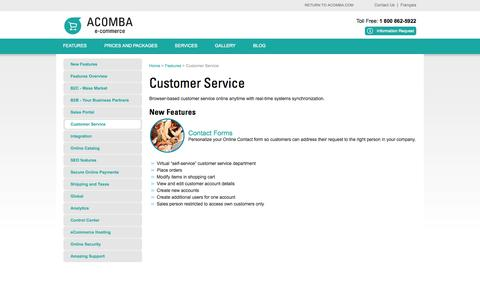 Screenshot of Support Page acomba-ecommerce.com - Customer Service - Acomba e-commerce - captured Oct. 4, 2014