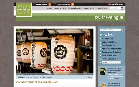 Screenshot of Blog countrywalkers.com - CW Travelogue - captured Sept. 26, 2014