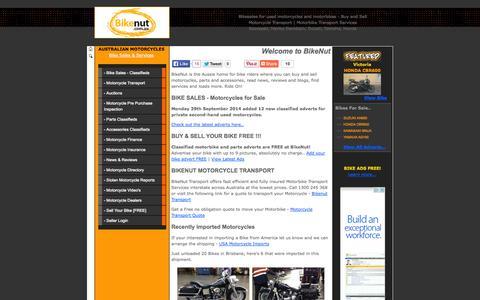 Screenshot of Home Page bikenut.com.au - Bike sales | motorcycles & motorbikes @ BikeNUT.com.au - captured Sept. 30, 2014