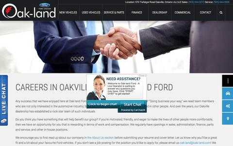 Screenshot of Jobs Page oaklandfordlincoln.ca - Car Dealership Job Openings in Oakville | Oak-land Ford - captured June 16, 2017