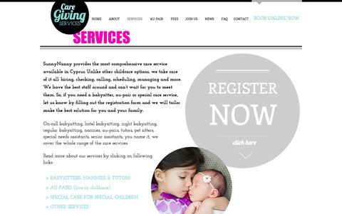 Screenshot of Services Page sunnynanny.com - Babysitting and nanny sevices | CYPRUS - captured Oct. 19, 2016