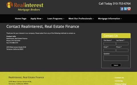Screenshot of Contact Page realinterest.net - Contact Realinterest, Real Estate Finance - captured Oct. 18, 2018