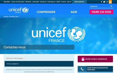 Screenshot of Contact Page unicef.fr - Contactez-nous | UNICEF France - captured Feb. 1, 2017