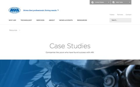 Screenshot of Case Studies Page arifleet.com - Case Studies - ARI - captured Sept. 21, 2016