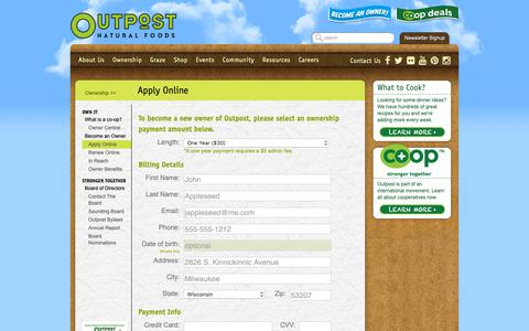 Screenshot of Signup Page outpost.coop - Apply Online · Outpost Natural Foods - captured Dec. 12, 2018