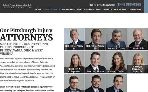 Screenshot of Team Page peircelaw.com - Our Pittsburgh Personal Injury Lawyers | Robert Peirce & Associates, P.C. - captured Oct. 18, 2018
