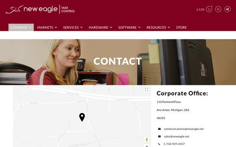 Screenshot of Contact Page neweagle.net - Contact New Eagle - Take Control of your project development cycle today - captured Aug. 22, 2017
