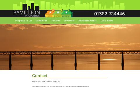 Screenshot of Contact Page pavillionproperties.net - Contact | Pavillion Properties - captured July 16, 2018
