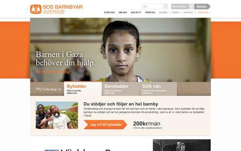 Screenshot of Home Page sos-barnbyar.se - SOS Barnbyar - Bli fadder och följ ett fadderbarn - captured Sept. 25, 2014