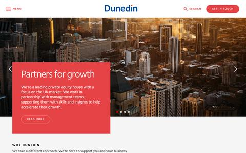 Screenshot of Home Page dunedin.com - Welcome to Dunedin LLP, private equity, investment for MBOs - Dunedin LLP - captured Oct. 9, 2018