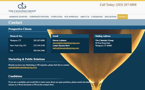 Screenshot of Contact Page thecalendargroup.com - Contact - The Calendar Group - captured Oct. 26, 2014