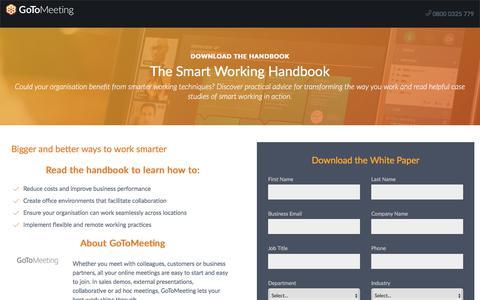 Screenshot of Landing Page gotomeeting.com - The Smart Working Handbook - captured Sept. 20, 2018