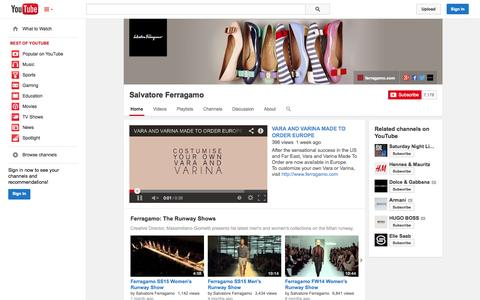 Screenshot of YouTube Page youtube.com - Salvatore Ferragamo  - YouTube - captured Oct. 26, 2014