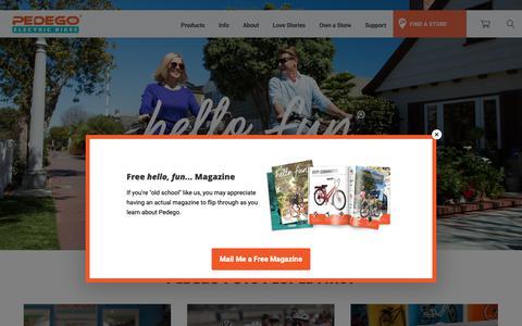 Screenshot of Home Page pedegoelectricbikes.com - Pedego Electric Bikes - America's Biggest & Best Electric Bike Brand - captured Oct. 8, 2018