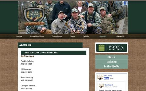 Screenshot of About Page gilesisland.com - About Us | Giles Island Hunting Club - captured Oct. 2, 2014