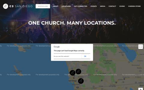 Screenshot of Services Page c3sandiego.com - One Church - Many Locations - Multiple Services   C3 San Diego - captured Sept. 25, 2018
