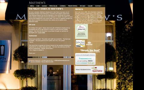 Screenshot of Home Page matthewsrestaurant.com - Matthew's Restaurant | The Night starts at Matthew's - captured Oct. 6, 2014