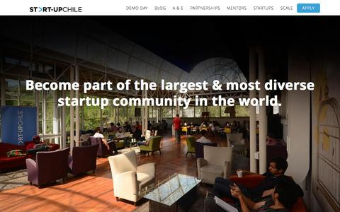 Screenshot of Home Page startupchile.org - Start-Up Chile - captured Oct. 1, 2015