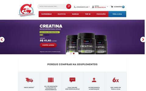Screenshot of Home Page gsuplementos.com.br - Gsuplementos - Os melhores preços! - captured June 28, 2016