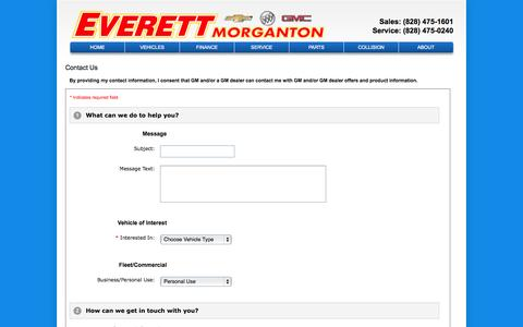Screenshot of About Page Contact Page morgantonchevy.com - Everett Chevrolet Buick GMC of Morganton – Morganton, Buick, Chevrolet, GMC dealership – contact info, phone number, email address - captured Oct. 23, 2014