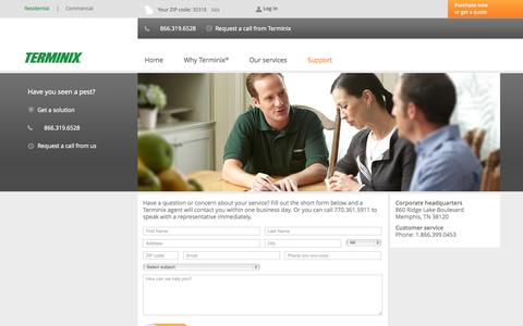 Screenshot of Contact Page Support Page terminix.com - Customer Support - captured Oct. 26, 2014