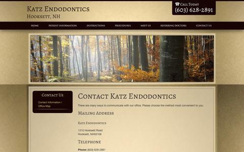 Screenshot of Contact Page drdougkatz.com - ContactKatz EndodonticsHooksettNH - captured Oct. 6, 2014